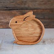 Посуда handmade. Livemaster - original item Children`s wooden plate Bunny. Handmade.