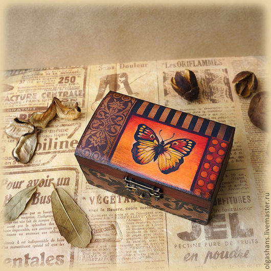 """Шкатулки ручной работы. Ярмарка Мастеров - ручная работа. Купить Шкатулка """"Red butterfly"""". Handmade. Коричневый, шкатулка для мелочей"""