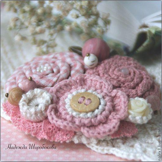 """Броши ручной работы. Ярмарка Мастеров - ручная работа. Купить Брошь """"Майские сады"""". Handmade. Розовый, брошь с кружевом"""
