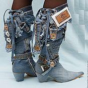 Обувь ручной работы. Ярмарка Мастеров - ручная работа Казаки джинсовые на каблуке 7см.. Handmade.