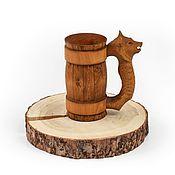 Посуда handmade. Livemaster - original item Wooden beer mug Wolf 0,5 l. Lime tree mug. Handmade.
