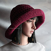 Аксессуары handmade. Livemaster - original item Burgundy hat from flax. Handmade.