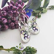 Украшения handmade. Livemaster - original item Silver plated earrings Plum. Handmade.