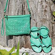 Обувь ручной работы handmade. Livemaster - original item Leather sandals Pure Mint. Handmade.