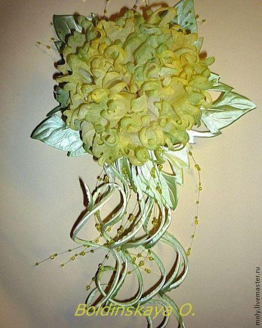 """Броши ручной работы. Ярмарка Мастеров - ручная работа. Купить пион """"фантазия"""". Handmade. Лимонный, цветы з шёлка"""