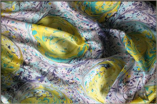 """Шали, палантины ручной работы. Ярмарка Мастеров - ручная работа. Купить """"Веселые переливы в эбру на шелке"""", платок с риснками на воде.. Handmade."""