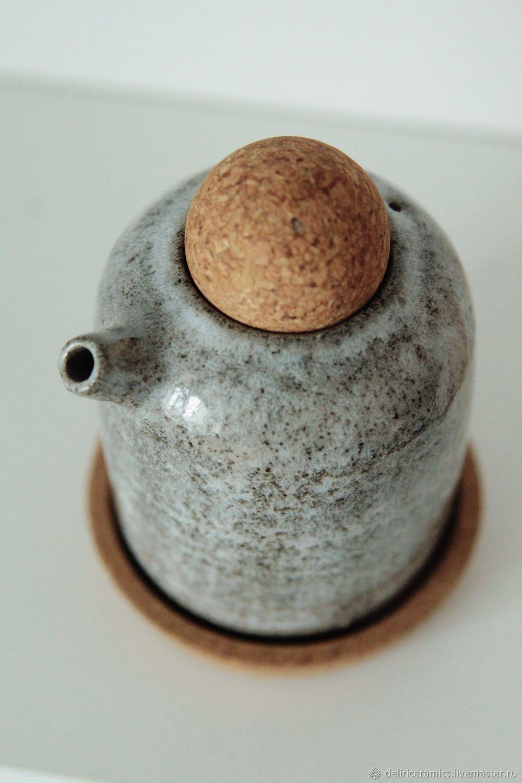 Графины, кувшины ручной работы. Ярмарка Мастеров - ручная работа. Купить Чайничек (соусник) для масел и соусов(серый). Handmade. Керамика, соусник