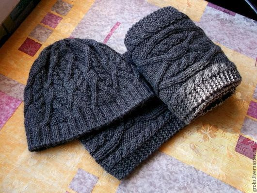 Комплекты аксессуаров ручной работы. Ярмарка Мастеров - ручная работа. Купить Темно-серый комплект с аранами - шапка и шарф. Handmade.