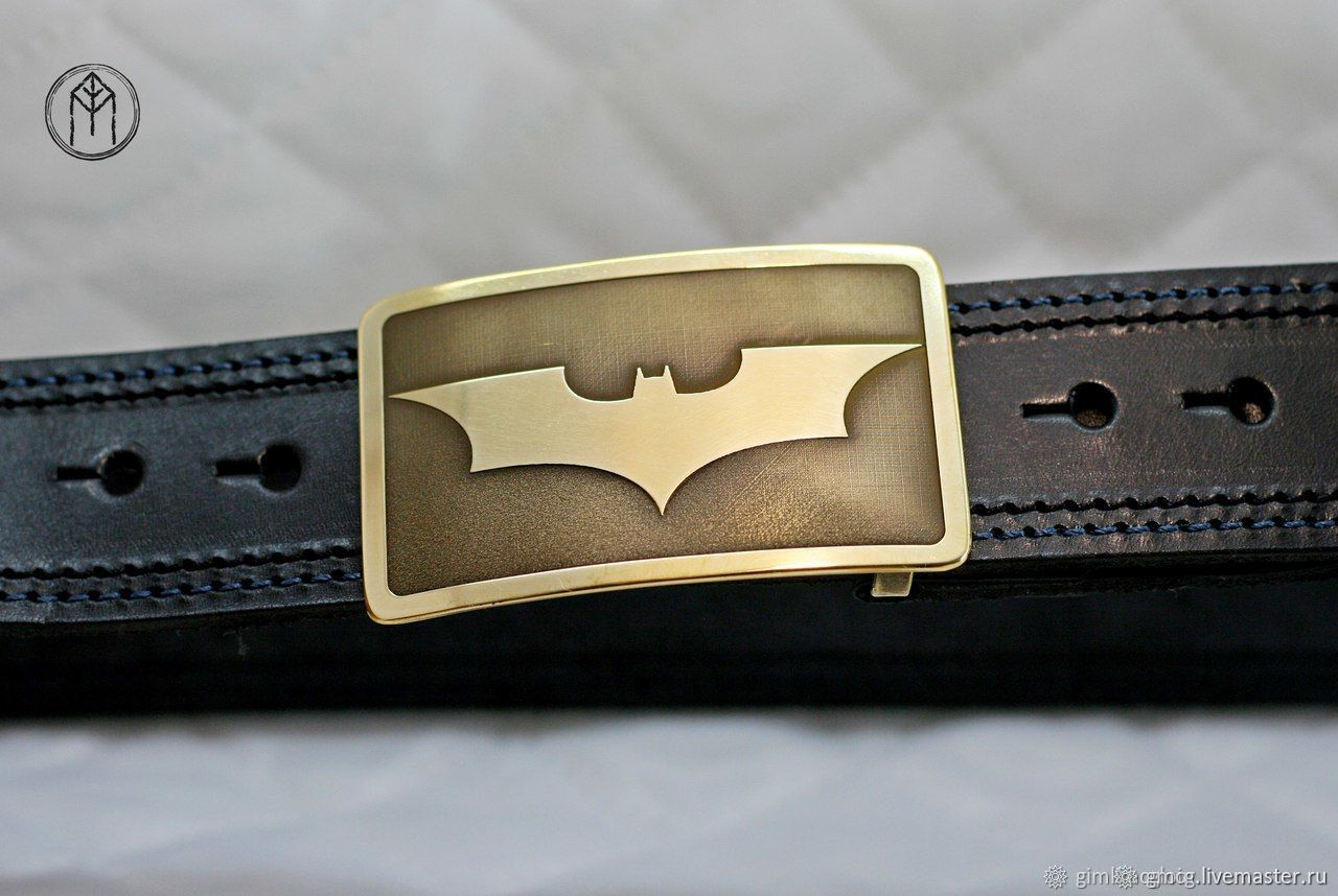Leather belt with brass buckle ' Batman', Straps, Tolyatti,  Фото №1