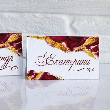 """Свадебный салон ручной работы. Ярмарка Мастеров - ручная работа """"Золотой шелк"""" банкетные карточки. Handmade."""