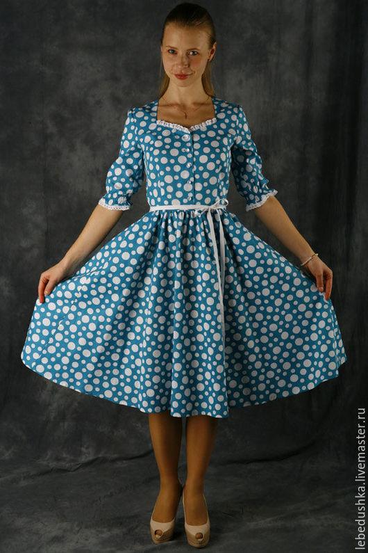 """Платья ручной работы. Ярмарка Мастеров - ручная работа. Купить Летнее платье в горох """"Гретель"""". Handmade. Комбинированный, красивое украшение"""