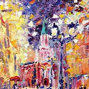 Картины и панно ручной работы. Ярмарка Мастеров - ручная работа Зимний пейзаж в огнях. Handmade.