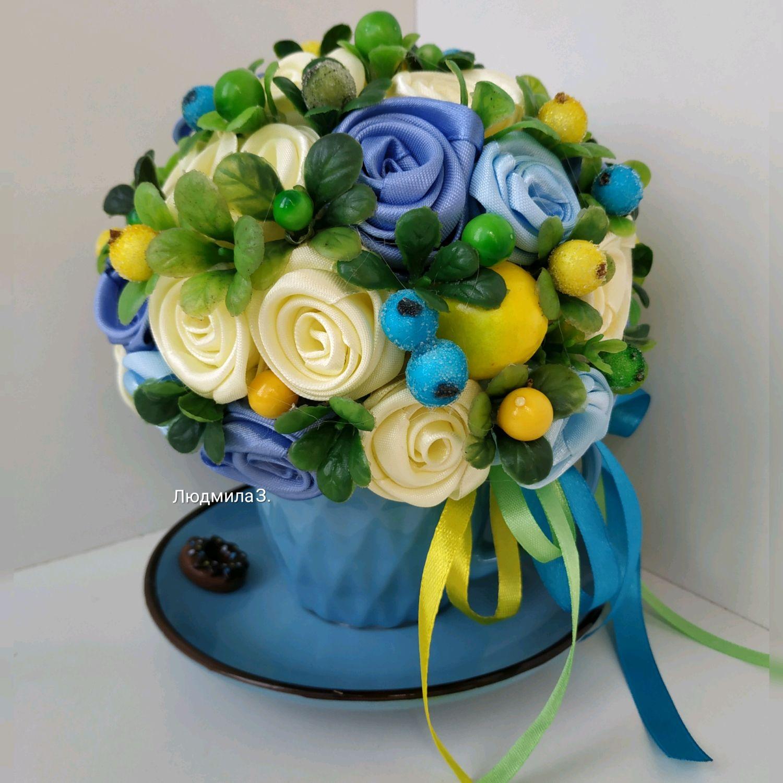 """Интерьерные композиции ручной работы. Ярмарка Мастеров - ручная работа. Купить Интерьерная композиция в чайной паре """"Голубая лагуна"""". Handmade."""