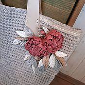 Сумки и аксессуары handmade. Livemaster - original item Bag Powder Peonies Genuine Leather Flowers Cotton Knitted. Handmade.