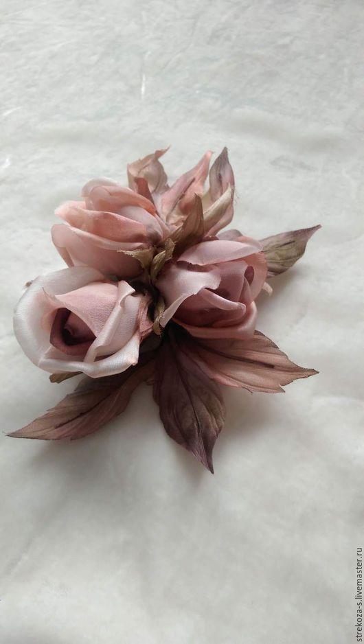 """Броши ручной работы. Ярмарка Мастеров - ручная работа. Купить роза из шелка """" Леона"""". Handmade. Кремовый, брошь-цветок"""
