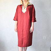 Одежда ручной работы. Ярмарка Мастеров - ручная работа Платье льняное комбинированное - основной марсала. Handmade.