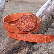 Аксессуары handmade. Livemaster - original item Women`s orange belt with horses. Handmade.
