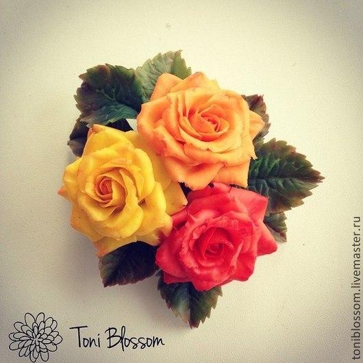 """Броши ручной работы. Ярмарка Мастеров - ручная работа. Купить Брошь """"Три розы"""". Handmade. Рыжий, брошь, роза"""
