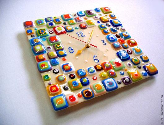 """Часы для дома ручной работы. Ярмарка Мастеров - ручная работа. Купить Часы  """"Стиль"""" стекло,фьюзинг. Handmade. Часы"""