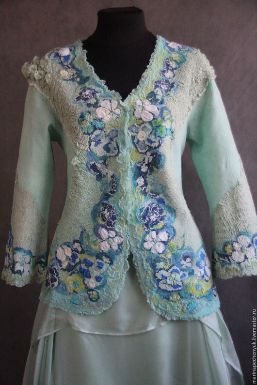 """Пиджаки, жакеты ручной работы. Ярмарка Мастеров - ручная работа. Купить Валяный жакет """" Цветущий луг"""". Handmade."""
