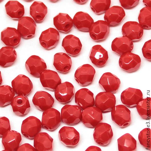 Для украшений ручной работы. Ярмарка Мастеров - ручная работа. Купить 50шт 4мм Чешские граненые бусины красные Fire polished beads. Handmade.