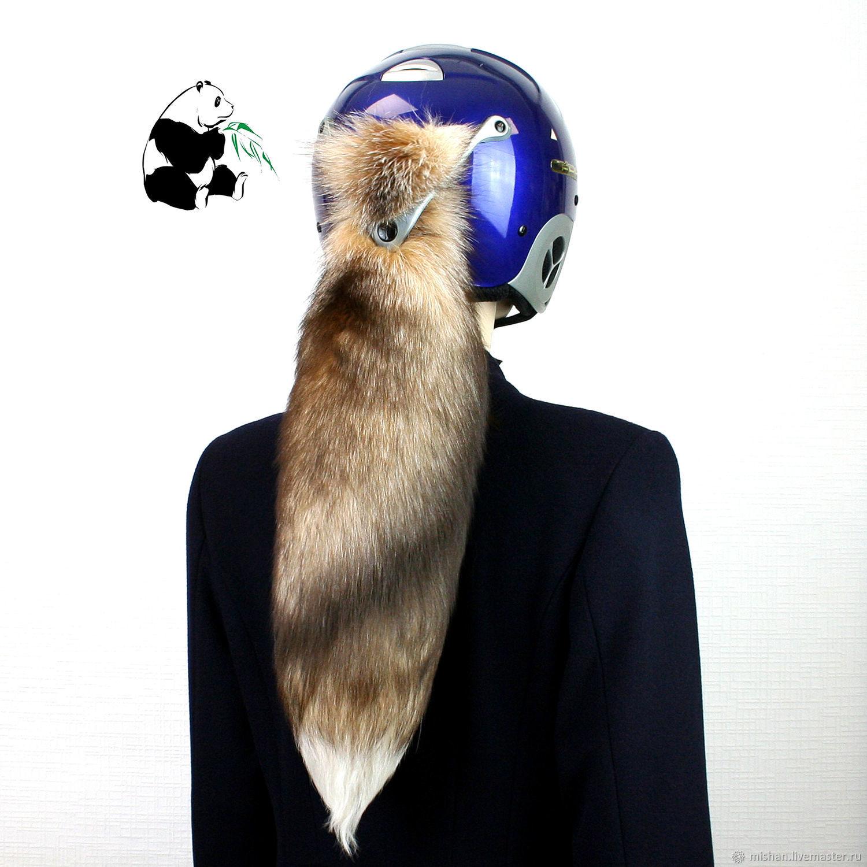 Chic tails Finnish Bluefrost Fox. Tail on helmet №11, Fur, Ekaterinburg,  Фото №1