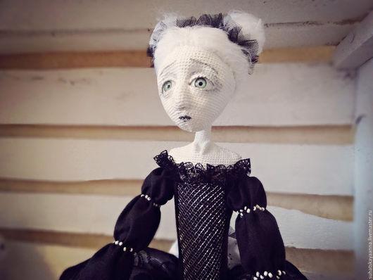 Коллекционные куклы ручной работы. Ярмарка Мастеров - ручная работа. Купить Черно-белая интерьерная кукла Помпоньера. Handmade. Черный