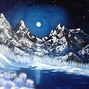 """Картины и панно ручной работы. Ярмарка Мастеров - ручная работа Картина маслом """"Лунная симфония ночи"""", зимний пейзаж. Handmade."""