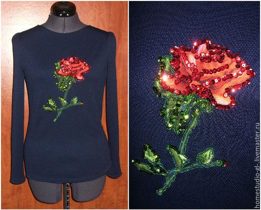 """Кофты и свитера ручной работы. Ярмарка Мастеров - ручная работа. Купить Лонгслив """" Роза"""" аппликация с вышивкой. Handmade."""
