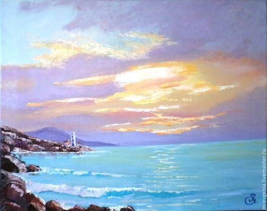 Картина `Закат на море`. Ручная работа. Картина с морем.