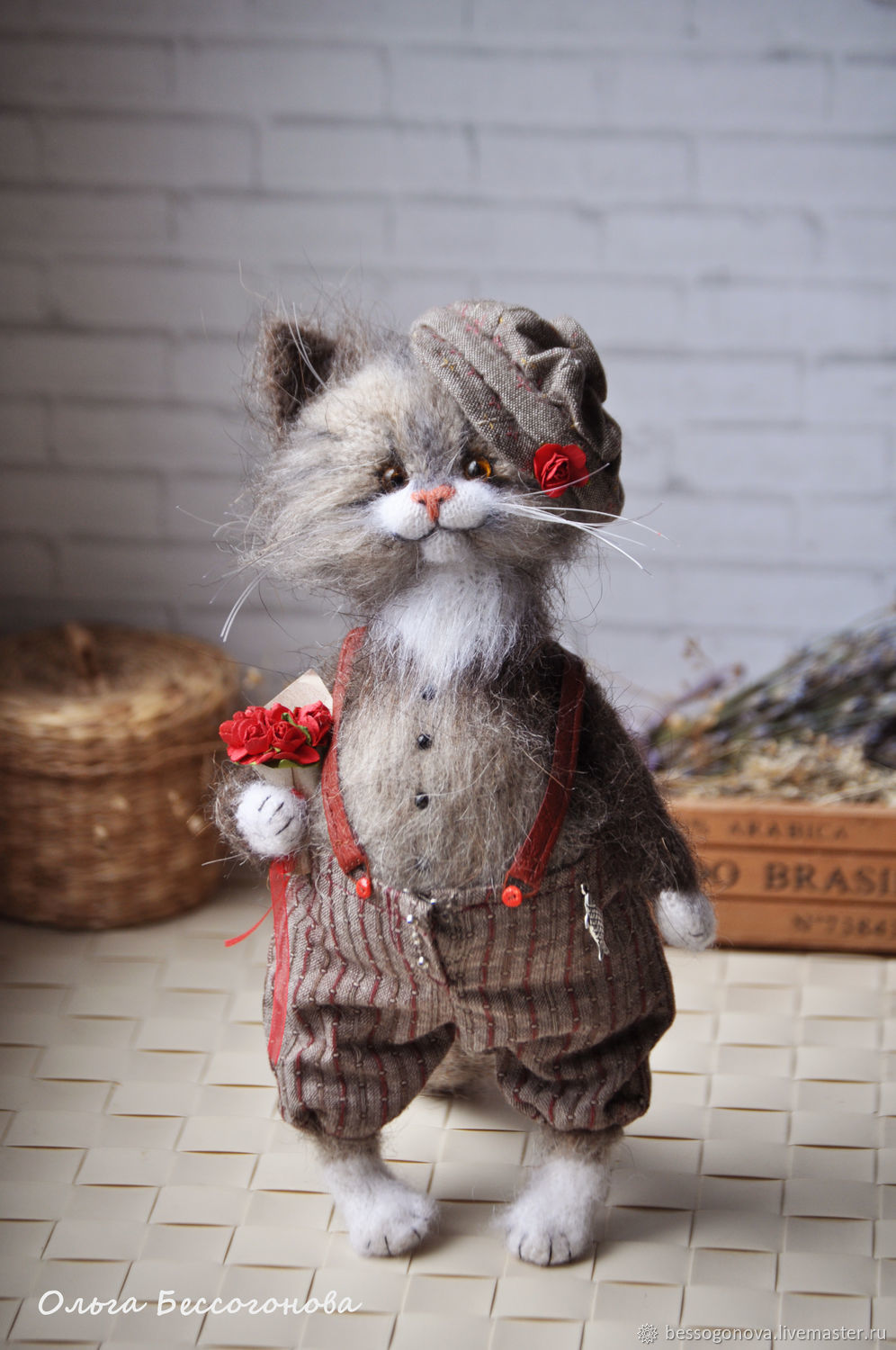 Author's crochet toy CAVALIER cat is knitted and crocheted from natural mohair with wool standing height 25 cm (samostoyatelno is based on tail) Weighted. Legs, neck and tail are bent