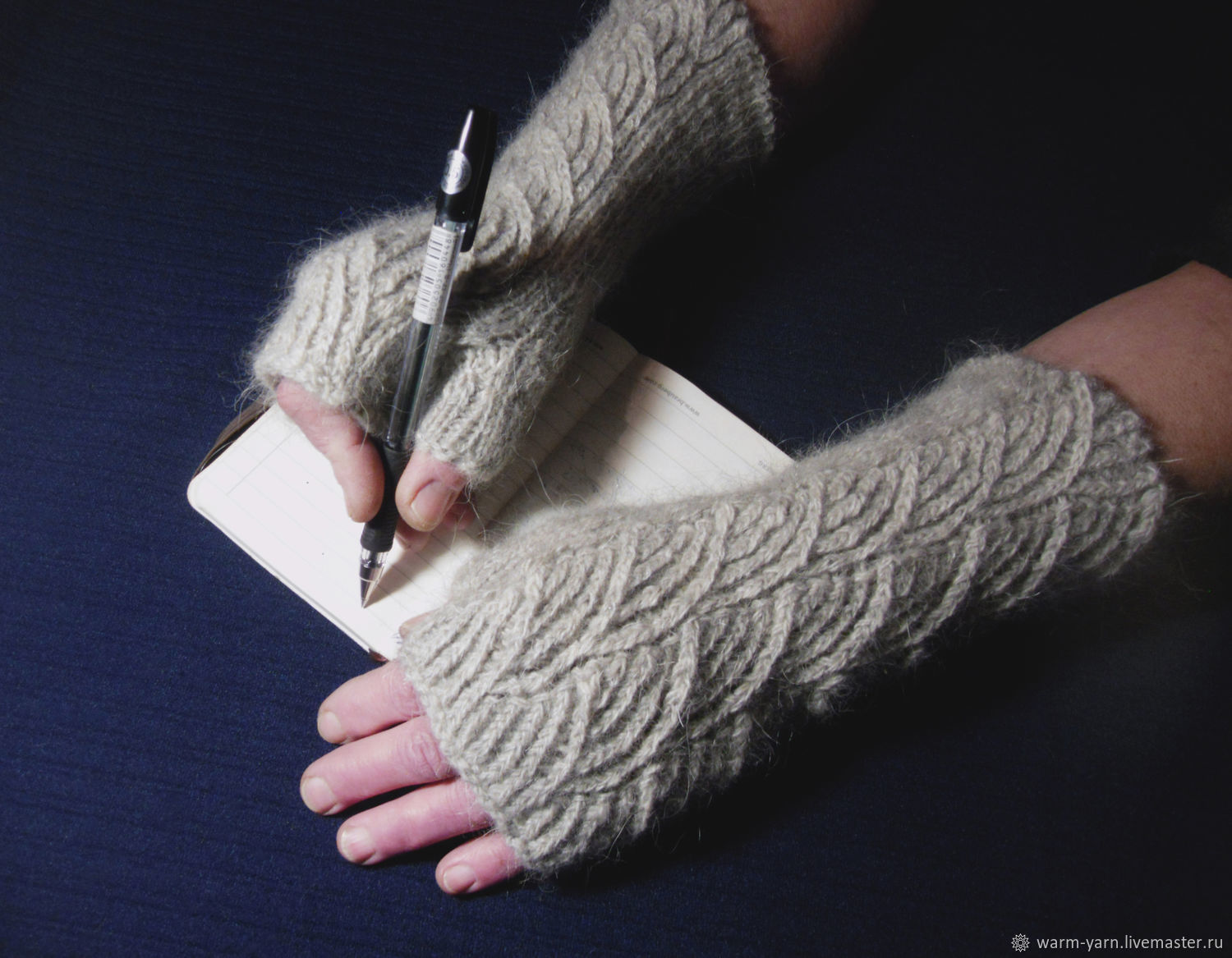 Women's knitted fingerless gloves Clouds, Mitts, Klin,  Фото №1