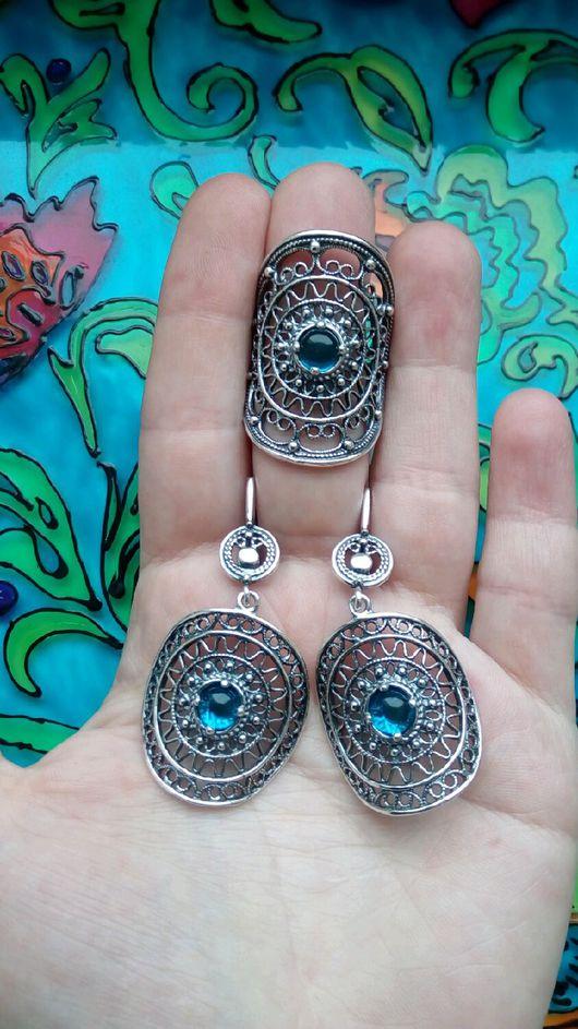 Комплекты украшений ручной работы. Ярмарка Мастеров - ручная работа. Купить 269 Комплект серебрение серьги и кольцо с камнями. Handmade.