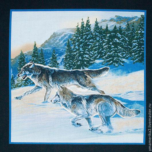 Шитье ручной работы. Ярмарка Мастеров - ручная работа. Купить Американский хлопок  ЛЕСНЫЕ ОБИТАТЕЛИ волки панель. Handmade.