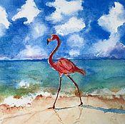 """Картины и панно ручной работы. Ярмарка Мастеров - ручная работа Фламинго море """"Лазурная мечта"""" акварель. Handmade."""
