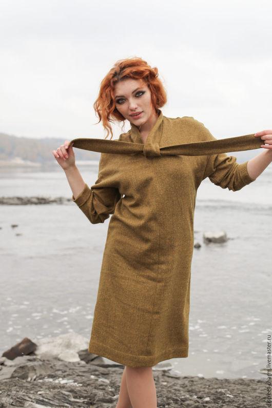 Платья ручной работы. Ярмарка Мастеров - ручная работа. Купить Тёплое шерстяное платье на зиму, зелёное, хаки, рукав летучая мышь. Handmade.