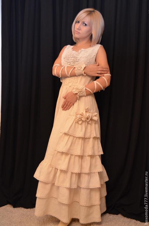 Платья ручной работы. Ярмарка Мастеров - ручная работа. Купить платье  бохо стиль богемы handmade  ,,Миледи,,. Handmade. Бежевый
