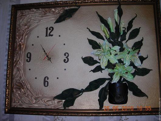 Картины цветов ручной работы. Ярмарка Мастеров - ручная работа. Купить Картина из кожи (объемная) Часы. Handmade. Комбинированный