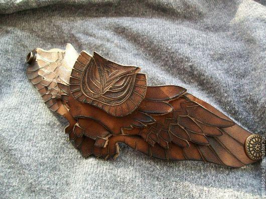 """Браслеты ручной работы. Ярмарка Мастеров - ручная работа. Купить Кожаный браслет """"Сова"""". Handmade. Коричневый, кожаный, натуральная кожа"""