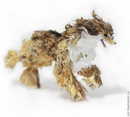 """Игрушки животные, ручной работы. Ярмарка Мастеров - ручная работа. Купить статуэтка """"Афганская борзая (бег)"""" (бежит, прыгает). Handmade."""