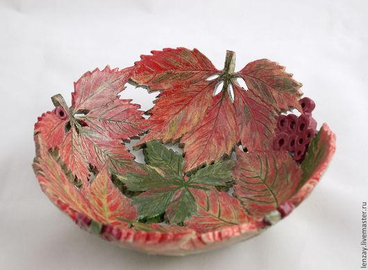 Пиала `Дикий виноград осенью`. Ажурная керамика и керамические цветы Елены Зайченко