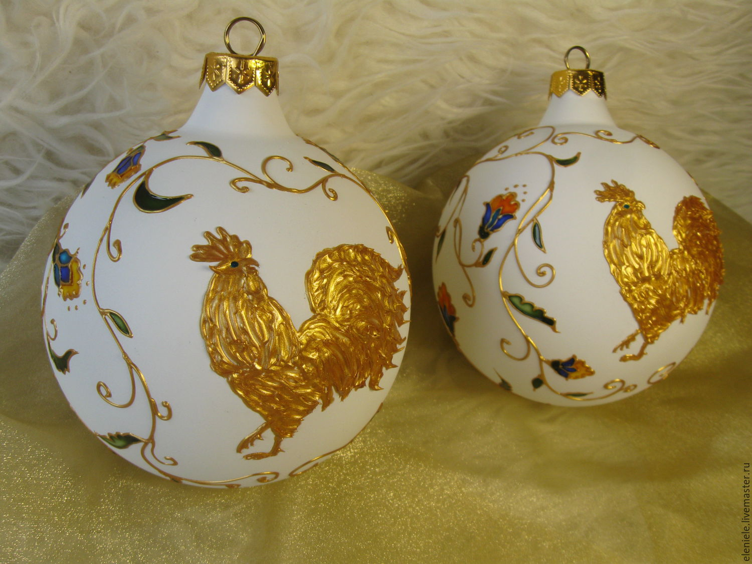 Christmas ball with painting the Golden Cockerel, Christmas decorations, Moscow,  Фото №1