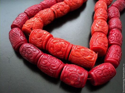 Для украшений ручной работы. Ярмарка Мастеров - ручная работа. Купить Коралл натуральный крупные резные бусины бочонки, 22-24мм. Handmade.