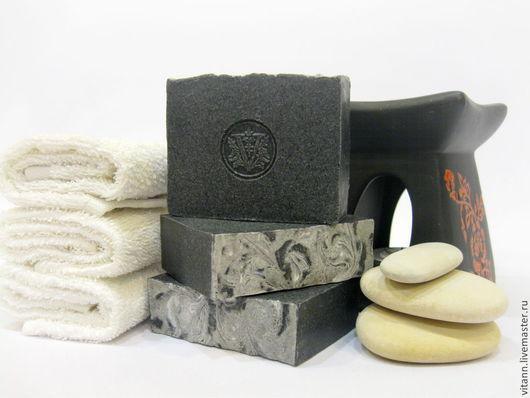 """Мыло ручной работы. Ярмарка Мастеров - ручная работа. Купить """"Угольное"""" натуральное мыло с углем. Handmade. Черный, мыло с нуля"""