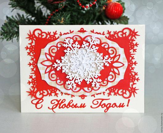 Открытки к Новому году ручной работы. Ярмарка Мастеров - ручная работа. Купить Новогодняя открытка. Handmade. Ярко-красный
