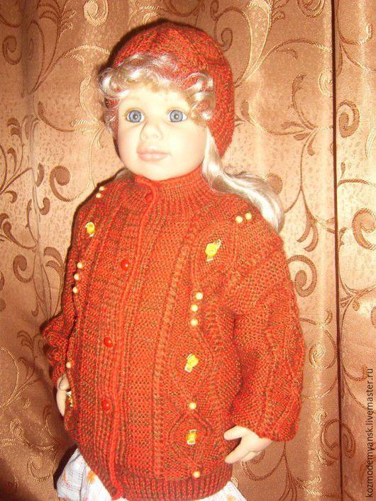 Одежда для девочек, ручной работы. Ярмарка Мастеров - ручная работа. Купить Кофта вязаная спицами детская теплая с вышивкой. Handmade.