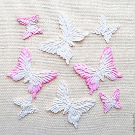 Открытки и скрапбукинг ручной работы. Ярмарка Мастеров - ручная работа. Купить Набор бабочек бело-розовый SCB300704. Handmade.