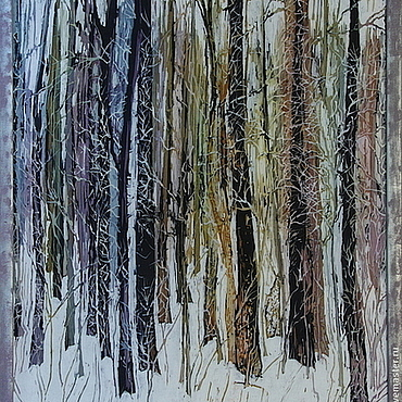 Картины и панно ручной работы. Ярмарка Мастеров - ручная работа Панно батик Лес. Handmade.