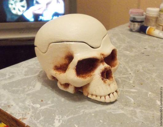 Шкатулки ручной работы. Ярмарка Мастеров - ручная работа. Купить черепок. Handmade. Разноцветный, череп, рок стиль, гипс