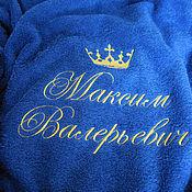Одежда ручной работы. Ярмарка Мастеров - ручная работа Именной халат с вышивкой 1527. Handmade.